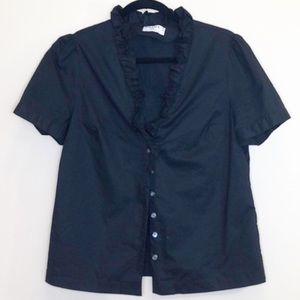 Frame denim shirt black button up ruffle top